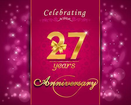 27 year anniversary celebration sparkling card, 27th anniversary