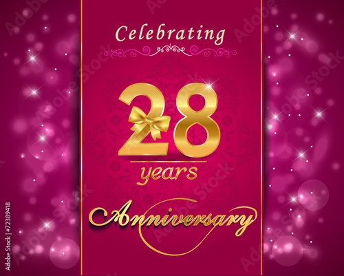 "28th Wedding Anniversary Gift: ""28 Year Happy Birthday Card, 28th Anniversary Sparkles"