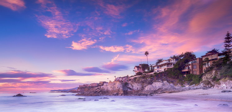 Laguna Beach in Calfornia at sunset