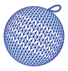 Blue knitted Christmas ball without shadow isolated on white
