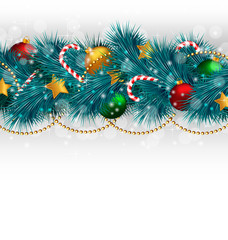 Blue Christmas tree branches with balls, candy canes, chains