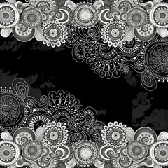 Abstract floral doodle pattern with paisley.