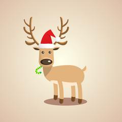 Vector Illustration of Christmas cute reindeer.
