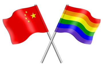 Flags: China and rainbow