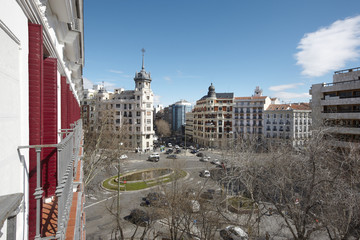 Madrid downtown with classical buildings with daylight