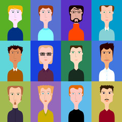 Vector set of portraits of men of different types of appearance