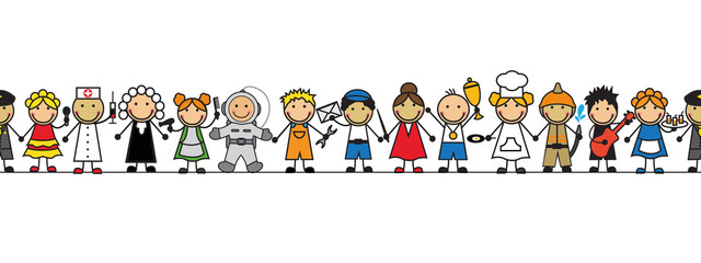 seamless kids in costumes professions stand in a row