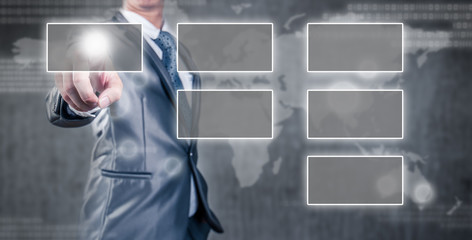 businessman pointing an empty organization chart