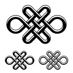 vector endless celtic knot black white symbol