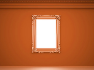 Orange vintage scene with mirror