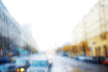 cityscape in the rain