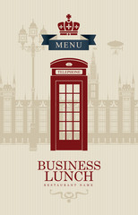 menu for business lunches with British phone booth
