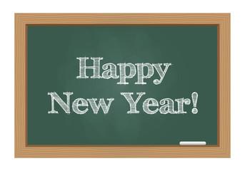 Happy new year message on chalkboard