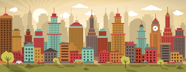 City life (retro colors)