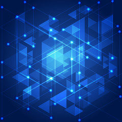 Abstract blue technology geometric background, vector