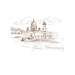 Saint-Petersburg - hand drawn illustration.