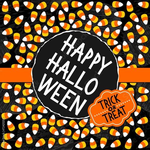 Halloween Zaproszenie Plakat Kartka Sezonowe Słodycze Ciemny Okrągły