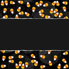 Halloween Zaproszenie Plakat Kartka Sezonowe Słodycze żółty Poziomy