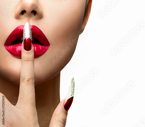 Fashion Model Girl Face Beautiful Sexy Lips Nail Art Stock Photo