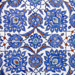 Printed kitchen splashbacks Moroccan Tiles Macro view of tiles in Rustem Pasa Mosque, Istanbul