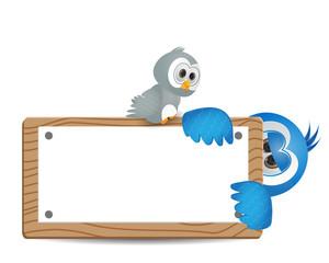 illustration bird peeked with text box