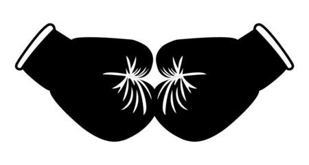 Boxing gloves black on white - Illustration