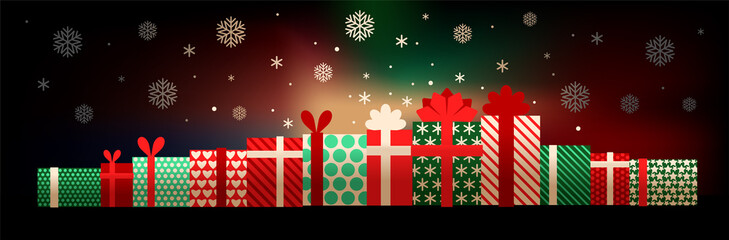 Illustration of gift boxes and snowflakes