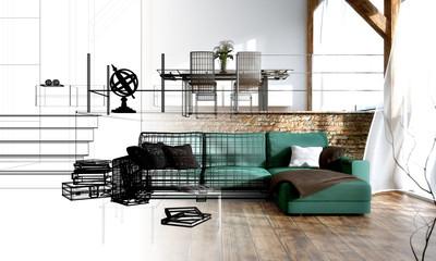 Inneneinrichtung - Interior design - Skizze