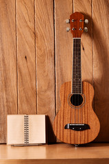 ukulele guitar with notebook