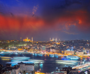 Instanbul night lights with Hagia Sophia and Blue Mosque in back