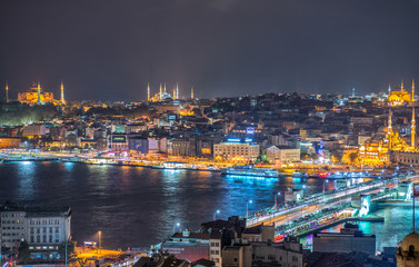 ISTANBUL - SEPTEMBER 17, 2014: City night panorama with Blue Mos