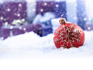 Christmas candle ball in the background christmas gift packages
