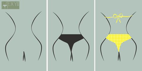 Sexy nude back, bikini topless and yellow polka dots bikini