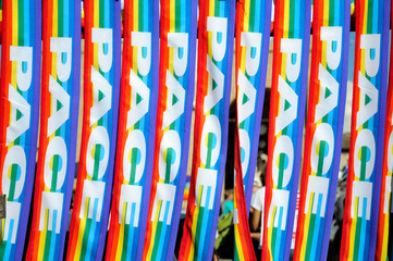 Multicolor peace scarf