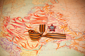 Map of battles.George Ribbon, Order of the Red Star