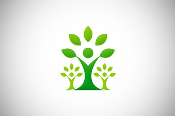 green tree ecology people abstract vector logo