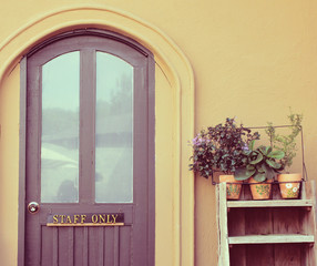 Staff only on door with flower pot for decorated, retro filter e