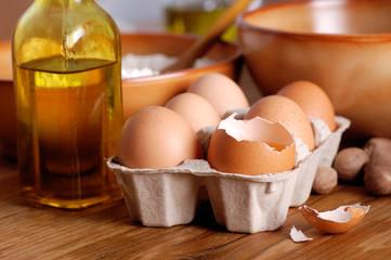 uova, farina e olio di oliva