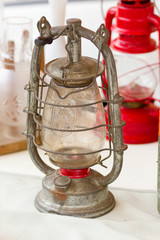 vintage oil lamp at a flea market
