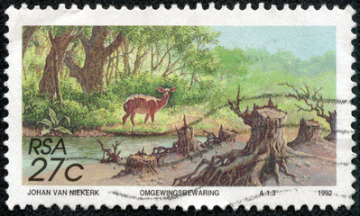 stamp printed in South Africa shows soil erosion
