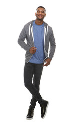 Full length portrait of a cool young black man smiling