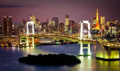 Fototapete - Rainbow Bridge and Sumida River in Tokyo, Japan.