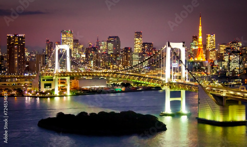 Wall mural Rainbow Bridge and Sumida River in Tokyo, Japan.