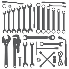 vector various wrench silhouette dark grey silhouette set