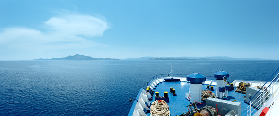Summer sea view from ferry (Greece)