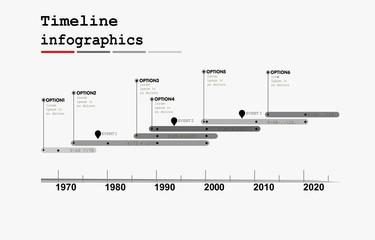 Monochrome Timeline Infographic , flat design style