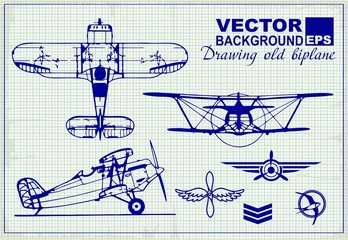 Vintage airplanes drawing on graph paper and design elements