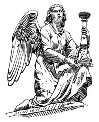 sketch drawing of marble statue angel