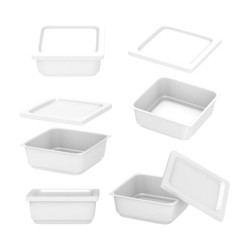 White  square plastic container for food production with clippin
