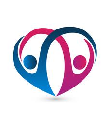 Couple team dancing logo in heart shape